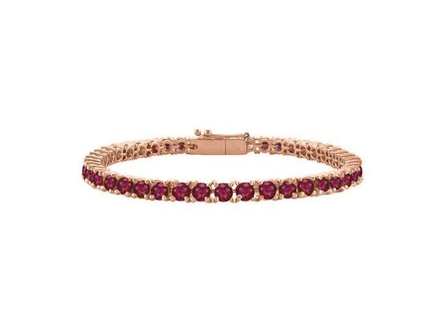 Created Ruby Tennis Bracelet in 14K Rose Gold Vermeil. 7CT. TGW. 7 Inch