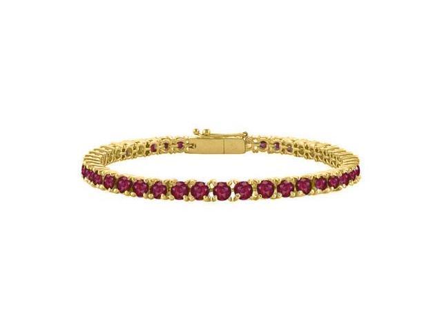 Created Ruby Tennis Bracelet in 18K Yellow Gold Vermeil. 5CT. TGW. 7 Inch