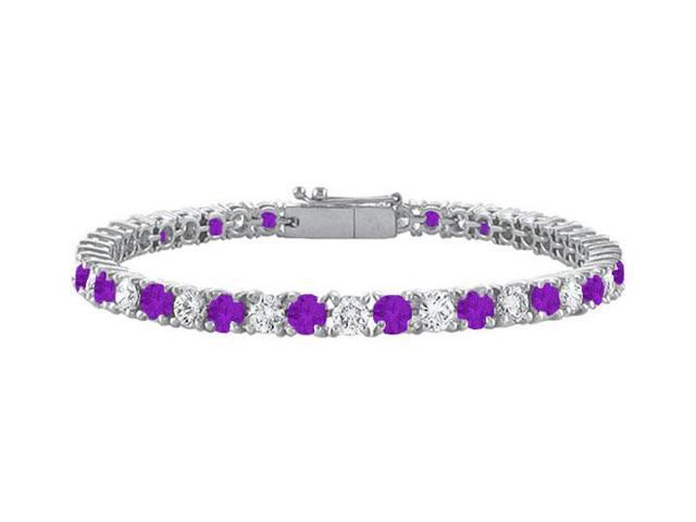 Sterling Silver Round Amethyst and Cubic Zirconia Tennis Bracelet 4.00 CT TGW