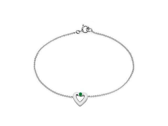 Created Emerald Heart Bracelet in Sterling Silver  0.10.ct.tw