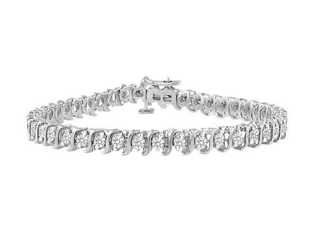 Cubic Zirconia S Tennis Bracelet  .925 Sterling Silver - 4.00 CT TGW
