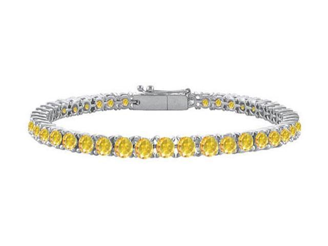 Yellow Sapphire Prong Set Tennis Bracelet in 14K White Gold 10.00 Carat TGW