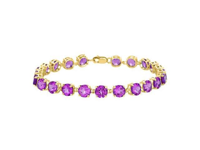Amethyst Tennis Bracelet in 18K Yellow Gold Vermeil. 12 CT. TGW. 7 Inch