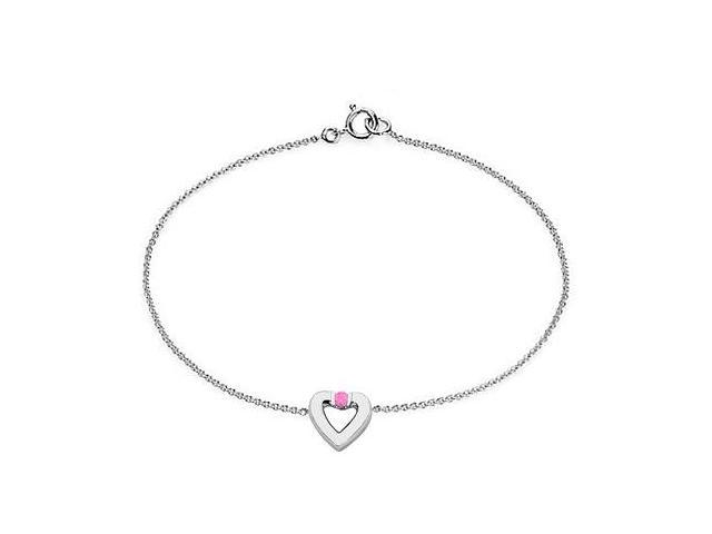 Created Pink Sapphire Heart Bracelet in Sterling Silver  0.10.ct.tw
