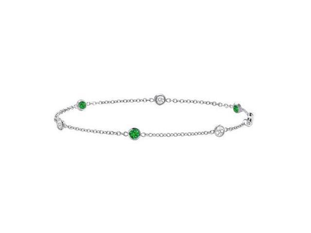Emerald and Diamond Bracelet  14K White Gold - 0.75 CT TGW