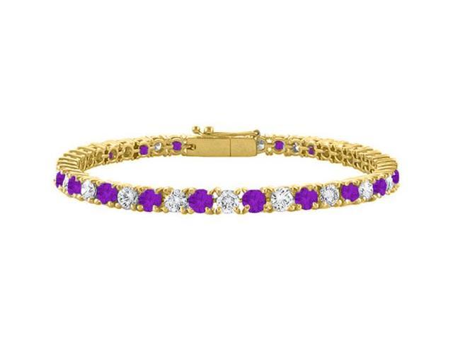 Cubic Zirconia and Amethyst Tennis Bracelet in 18K Yellow Gold Vermeil. 3 CT. TGW. 7 Inch