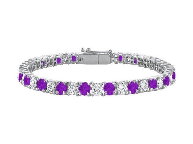 Sterling Silver Round Amethyst and Cubic Zirconia Tennis Bracelet 7.00 CT TGW