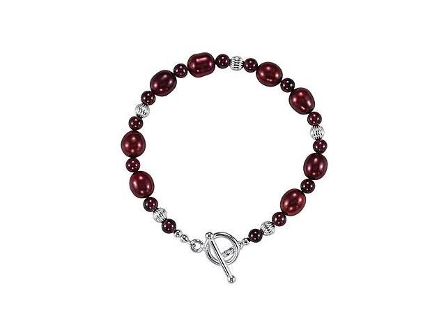 Rhodolite Garnet and Freshwater Cultured Dyed Pearl Bracelet in .925 Sterling Silver 7.50 Inch