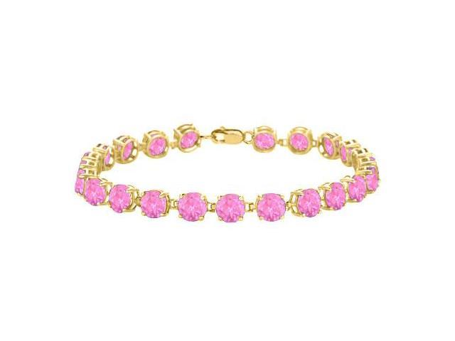 Created Pink Topaz Tennis Bracelet in 18K Yellow Gold Vermeil. 12CT. TGW. 7 Inch