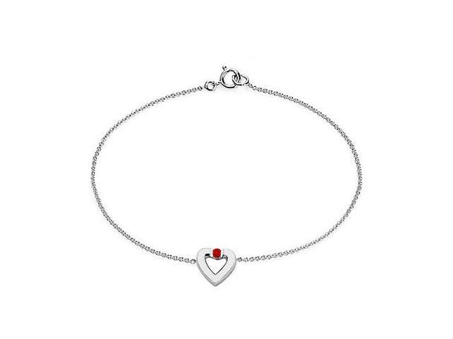 Created Ruby Heart Bracelet in Sterling Silver 0.10.ct.tw