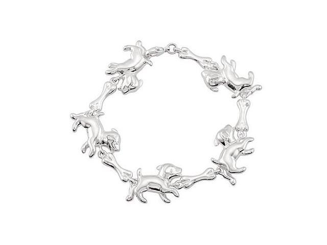 Puppy and Bone Bracelet in Rhodium Plating .925 Sterling Silver 7.5 Inch