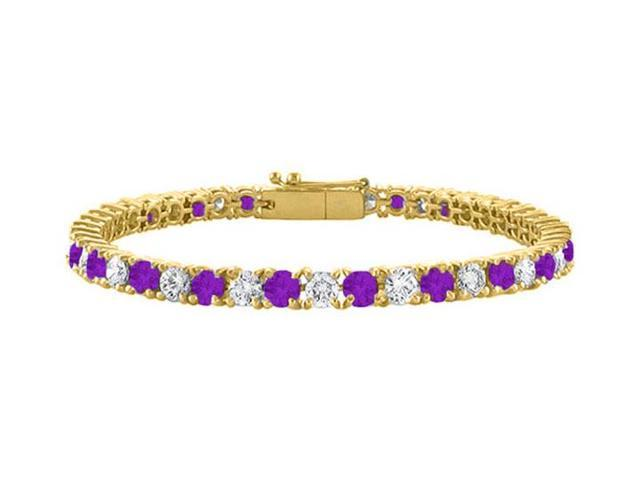 Cubic Zirconia and Amethyst Tennis Bracelet in 18K Yellow Gold Vermeil. 5 CT TGW. 7 Inch