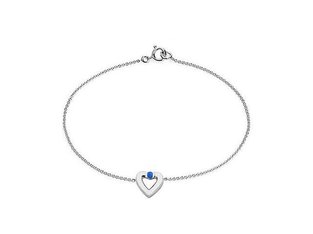 Created Sapphire Heart Bracelet in Sterling Silver 0.10.ct.tw