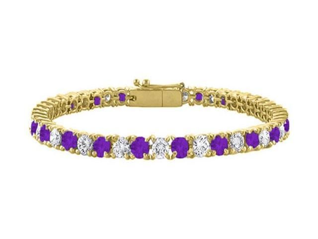 Cubic Zirconia and Amethyst Tennis Bracelet with 7CT TGW on 18K Yellow Gold Vermeil. 7 Inch