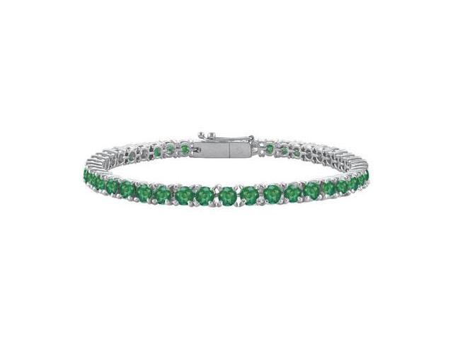 Frosted Emerald Tennis Bracelet in 14K White Gold 4.00 Carat Total Gem Weight