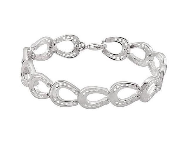 Link Horseshoe Bracelet in Rhodium Plating .925 Sterling Silver 7.75 Inch