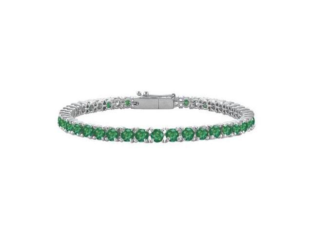 Frosted Emerald Tennis Bracelet 925 Sterling Silver 5.00 Carat Total Gem Weight