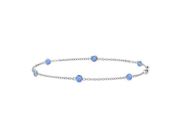 Bezel Set Sapphire Station Bracelet By The Yard in 14k White Gold 7 Inch Length With 0.60 Carat