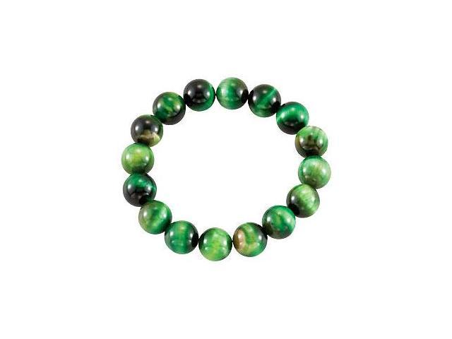 Genuine Green Tiger Eye Stretch Bracelet - 12.00 X 12.00 MM with 6.50 INCH