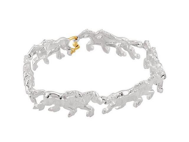 Rhodium Plating .925 Sterling Silver Stampede Bracelet in 8 Inch