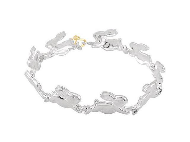 Rabbit Link Bracelet in .925 Sterling Silver Rhodium Plating 7.15 Inch with 14K Yellow Plated