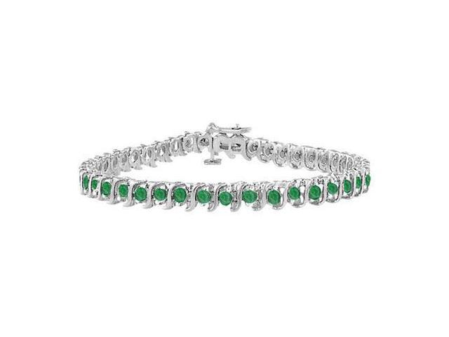 Frosted Emerald S Tennis Bracelet 925 Sterling Silver 5.00 Carat Total Gem Weight