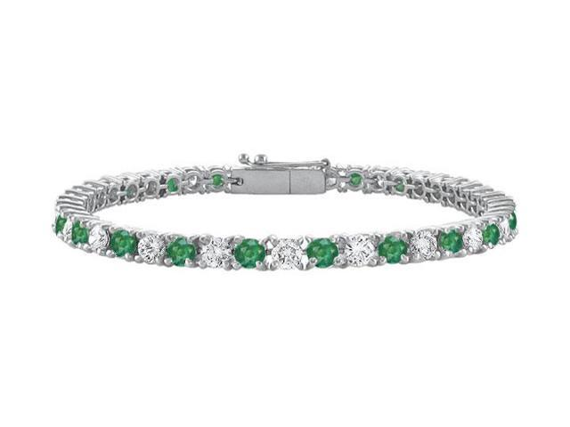1ct Tennis Bracelet Green Emerald Created and CZ Prong Set on 925 Sterling Silver 7 Inch