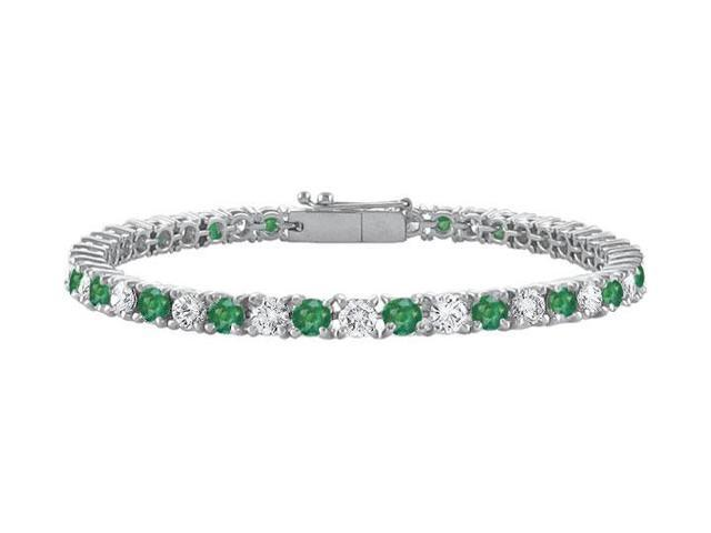 Created Emerald and Cubic Zirconia Prong Set 10K White Gold Tennis Bracelet 2.00 CT TGW