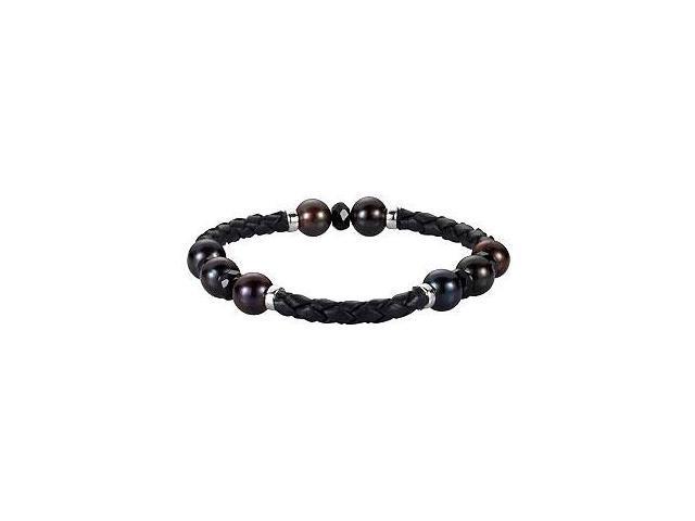Sterling Silver Freshwater Cultured Black Pearl Onyx Bracelet - 8-8.5 MM/6 MM/ 8 Inch