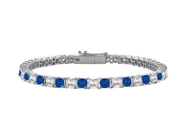 Sapphire and Diamond Tennis Bracelet with 3.00 CT TGW on 14K White Gold