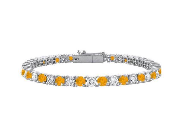 Citrine and Cubic Zirconia Prong Set 10K White Gold Tennis Bracelet 3.00 CT TGW