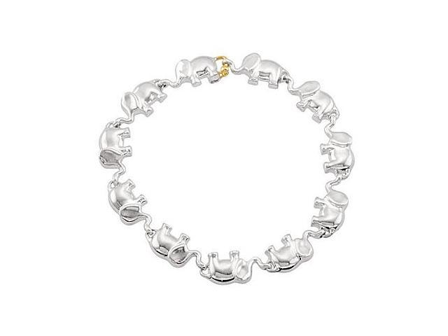 Rhodium Plating .925 Sterling Silver Link Elephant Bracelet in 7.50 Inch with 14K Yellow Plated