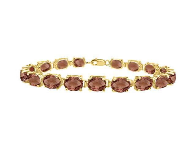 Smoky quartz tennis bracelet oval cut in sterling silver vermeil 18K yellow gold finish 15ct TGW
