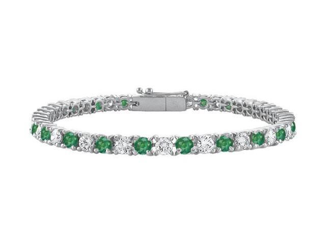 Frosted Emerald and Cubic Zirconia Prong Set 10K White Gold Tennis Bracelet 3.00 CT TGW