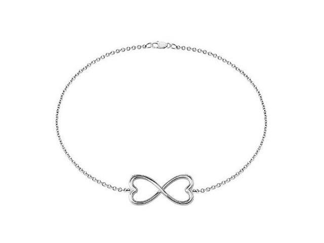 Infinity Bracelet in 14K White Gold Double Heart Design with 7 Inch Cable Chain and Lobster Lock