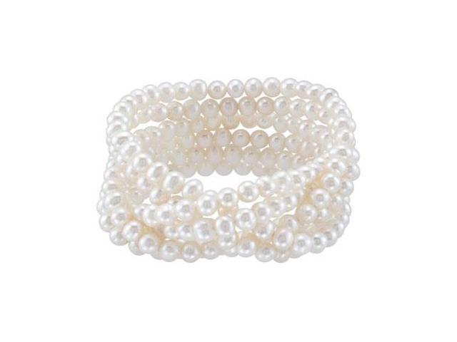 Sterling Silver Freshwater Cultured White Pearl Stetch Bracelet - 5-5.5MM/ 7.5 INCH