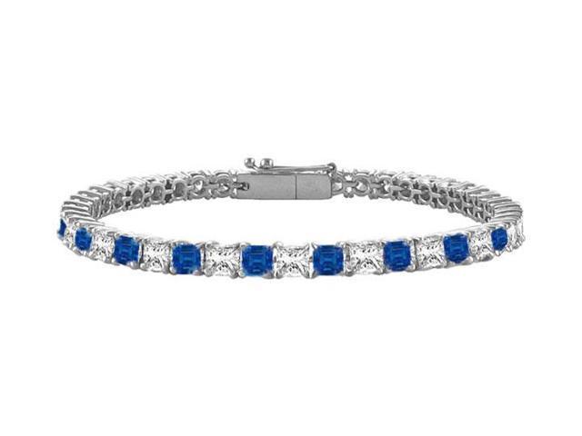 Sapphire and Diamond Tennis Bracelet with 4.00 CT TGW on 14K White Gold