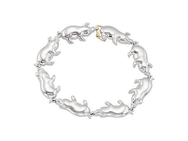 Polished Pig Bracelet in .925 Sterling Silver Rhodium Plating 7.25 Inch with 14K Yellow Plated