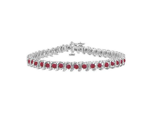 GF Bangkok Ruby S Tennis Bracelet 925 Sterling Silver  5.00 Carat Total Gem Weight