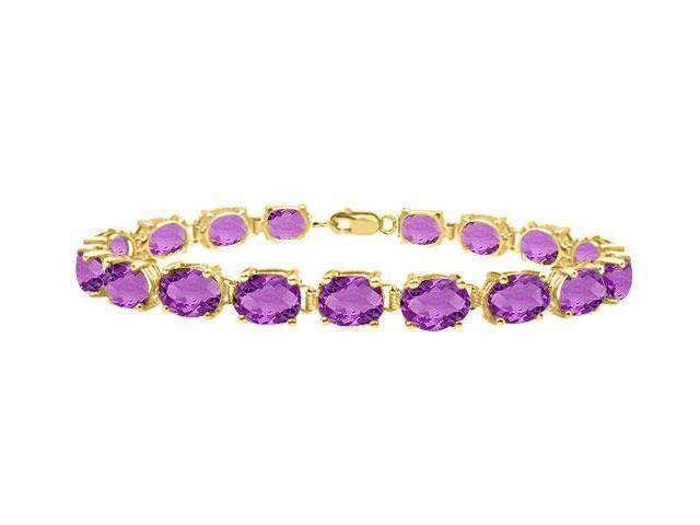 Amethyst tennis bracelet oval cut prong set sterling silver vermeil 18K yellow gold 15ct TGW