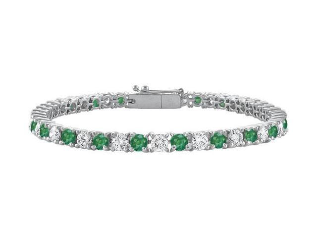 Frosted Emerald and Cubic Zirconia Prong Set 10K White Gold Tennis Bracelet 4.00 CT TGW