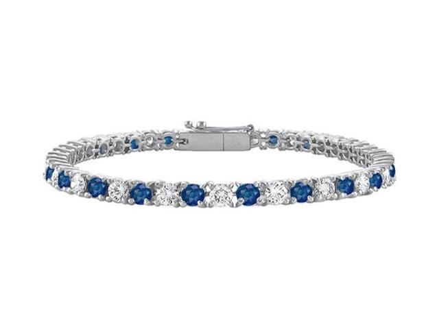CZ and Created Blue Sapphire Tennis Bracelet One Carat Prong Set in 925 Sterling Silver 7 Inch