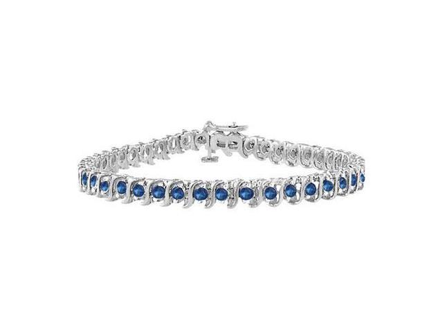 Diffuse Sapphire S Tennis Bracelet 925 Sterling Silver 3.00 Carat Total Gem Weight
