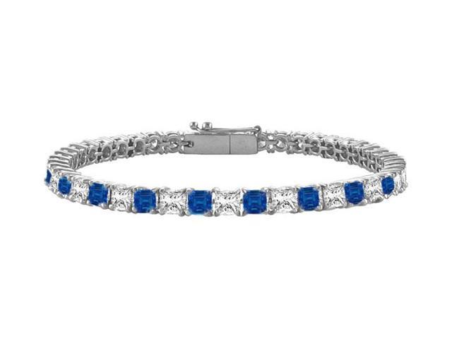 Sapphire and Diamond Tennis Bracelet with 5.00 CT TGW on 14K White Gold