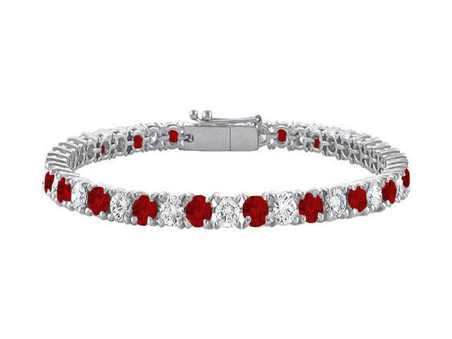 Sterling Silver Round Garnet and Cubic Zirconia Tennis Bracelet 10.00 CT TGW