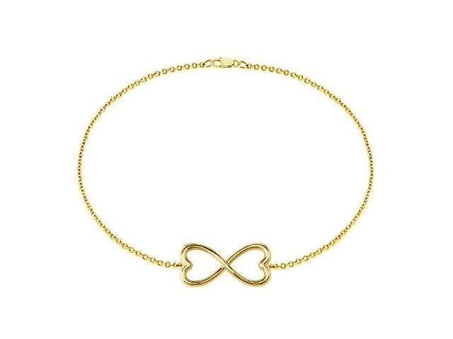 Heart Shape Infinity Bracelet in Yellow Gold 14K with 7 Inch Cable Chain and a Lobster Clasp