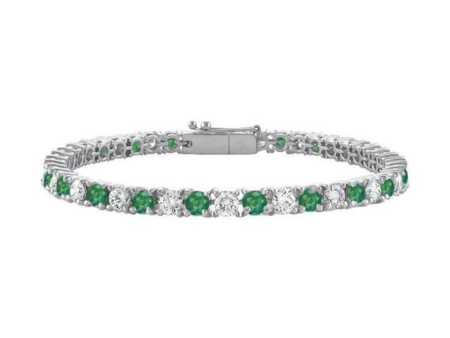 Frosted Emerald and Cubic Zirconia Prong Set 10K White Gold Tennis Bracelet 5.00 CT TGW