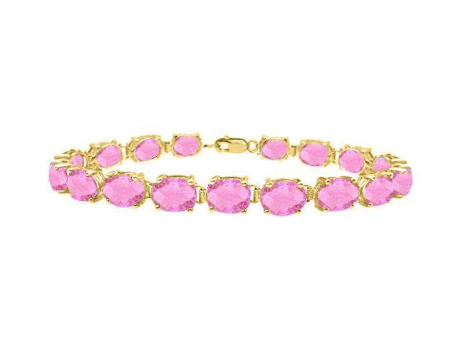 Bracelets tennis created pink topaz oval set in sterling silver 18K yellow gold vermeil 15ct TGW
