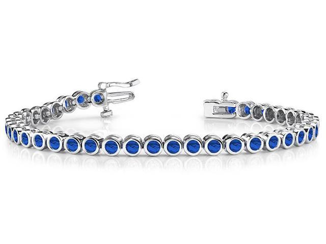 Classic Bezel Set Created Sapphire Tennis Bracelet. 32.ct.tw.