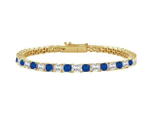 Sapphire and Diamond Tennis Bracelet with 2.00 CT TGW on 14K Yellow Gold